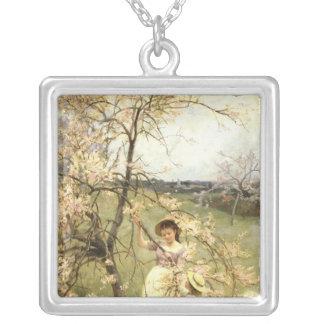 Spring, c.1880 square pendant necklace