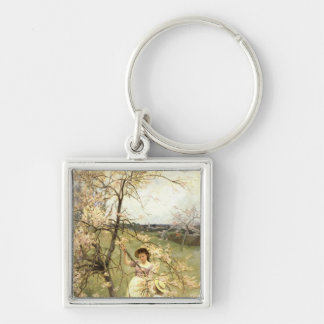 Spring, c.1880 Silver-Colored square key ring