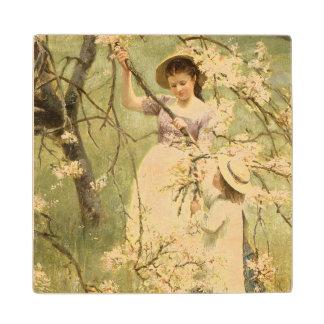 Spring, c.1880 wood coaster