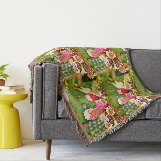 Spring Cactus Bulbs Poly Accent Throw Blanket