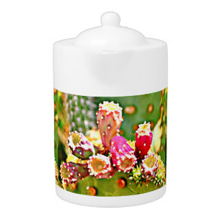 Spring Cactus Bulbs Tea Pot