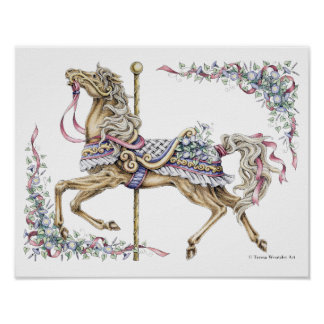 Spring Carousel Horse Pen and Ink Drawing Poster