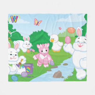 Spring Celebration Egg Hunt Fleece Blanket