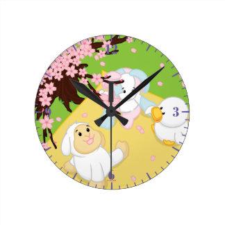 Spring Celebration Picnic Round Clock