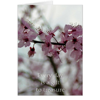 Spring Cherry Blossom Floral Greeting Card