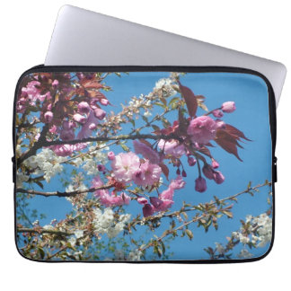 spring cherry blossom tree in blue sky computer sleeves