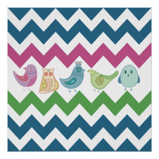 Spring Chevron Stripes Cute Whimsical Birds Owl Posters