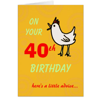 Spring Chicken 40th Birthday Card