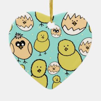 spring chicken ceramic heart decoration