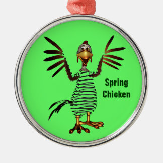Spring Chicken Silver-Colored Round Decoration