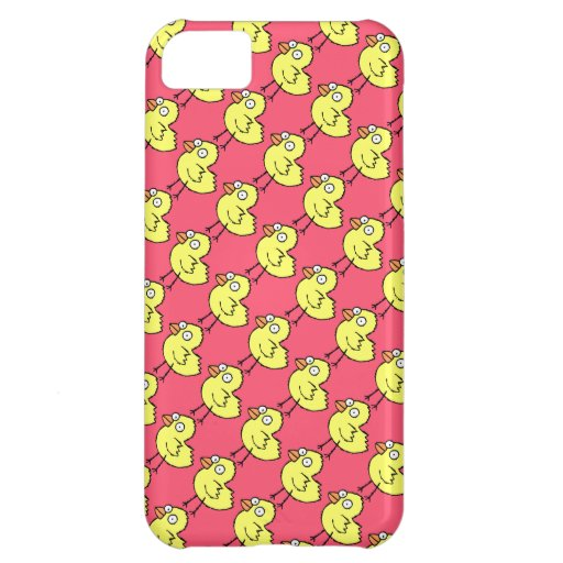 Spring Chickens Yellow Chicks Pattern on Hot Pink iPhone 5C Cover