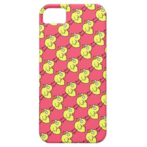 Spring Chickens  Yellow Chicks Pattern on Hot Pink iPhone 5 Covers