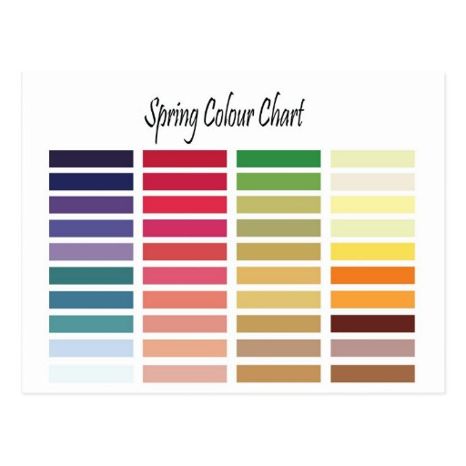 Spring Color Chart Post Card