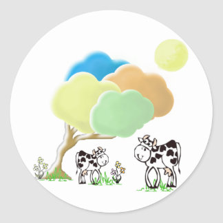 Spring Cow and Calf Round Stickers