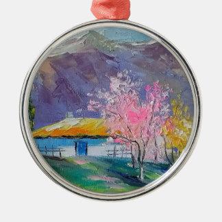 Spring Crimea Silver-Colored Round Decoration