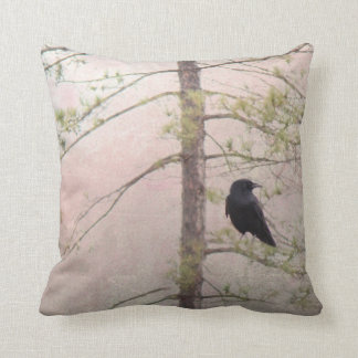 Spring Crow Throw Pillow