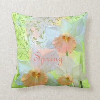 Spring custom text and daffodils cushion