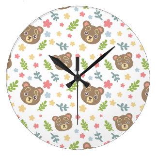 Spring Cute Bear Large Clock