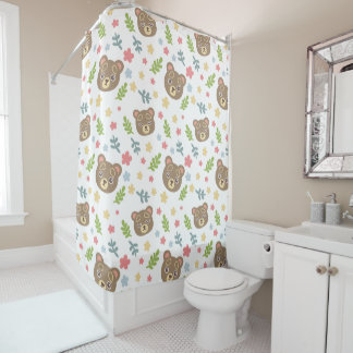 Spring Cute Bear Shower Curtain