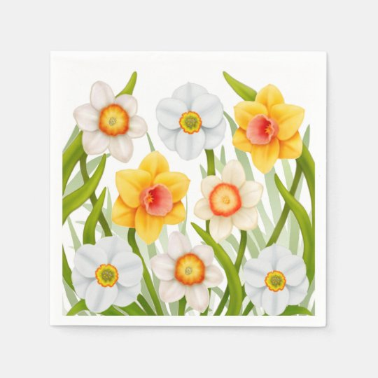 Spring Daffodil Flowers Napkins Disposable Napkins