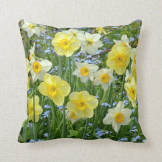 Spring daffodils print throw cushion