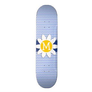 Spring Daisy Blue Chevron Pattern Skate Board Deck