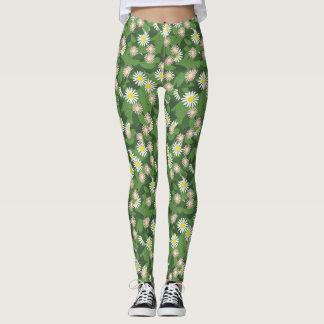 Spring Daisy Floral  Print on Green Leaves Legging