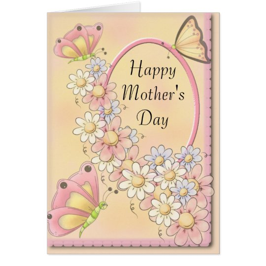 Spring Daisy Flowers & Butterflies Mother's Day Card