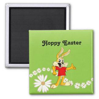 Spring Daisy Hoppy Easter Bunny Magnet