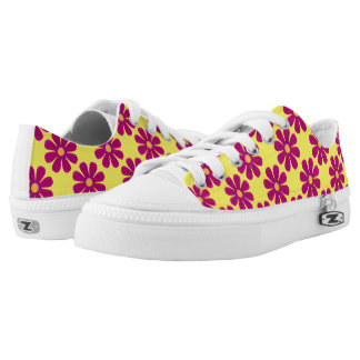 Spring dark pink flowers on bright yellow printed shoes