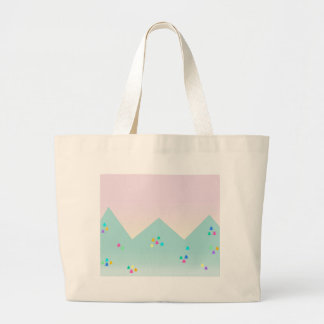 Spring Dawn Mountain Landscape in Pastel and Neon Large Tote Bag