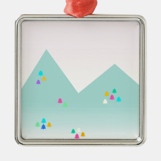 Spring Dawn Mountain Landscape in Pastel and Neon Silver-Colored Square Decoration