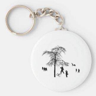 Spring depression basic round button key ring