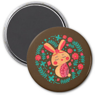 Spring Easter Bunny 3 Inch Round Magnet