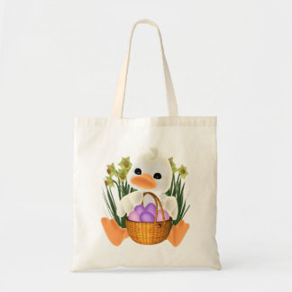 Spring Easter Ducky with Egg Basket Tote Bag