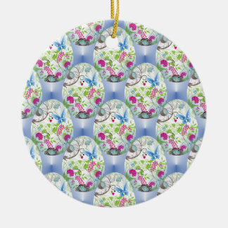 Spring Easter Egg Butterfly Flowers Vines Design Christmas Ornament