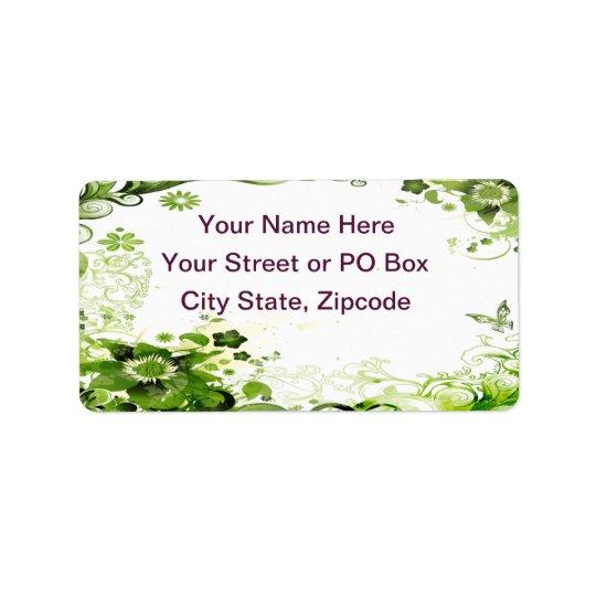 Spring Emerald Green Floral Address Label