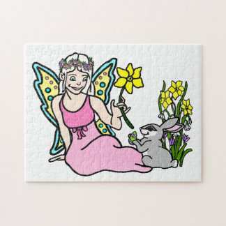 Spring Fairy and Bunny Jigsaw Puzzle
