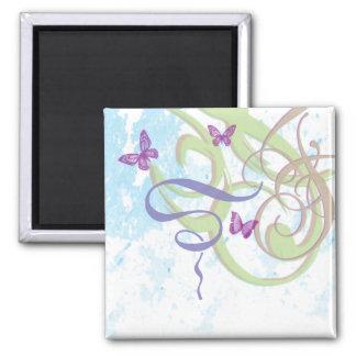 Spring Fantasy - Swirls & Butterflies Magnet