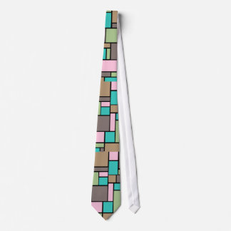 Spring Fashion color Abstract Rectangle  pattern Tie