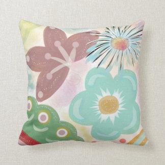 Spring Fever. Large colourful flower print art Throw Pillow