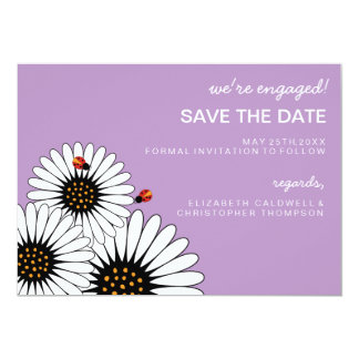 Spring Fling Daisies SAVE THE DATE-African Violet 13 Cm X 18 Cm Invitation Card