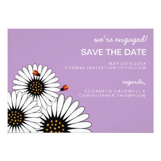 Spring Fling Daisies SAVE THE DATE-African Violet Custom Invite
