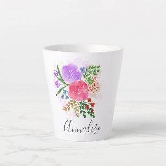 Spring Floral Blooms Custom Name Latte Mug