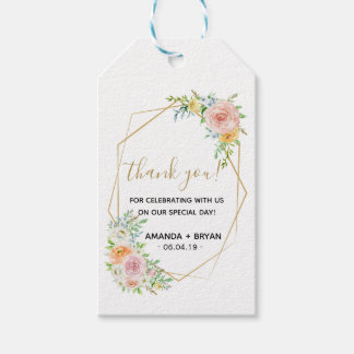 Spring floral blush gold Wedding Favour Gift Tag
