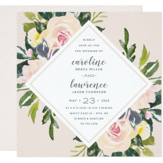 Spring Floral Blush | Square Wedding Invitation
