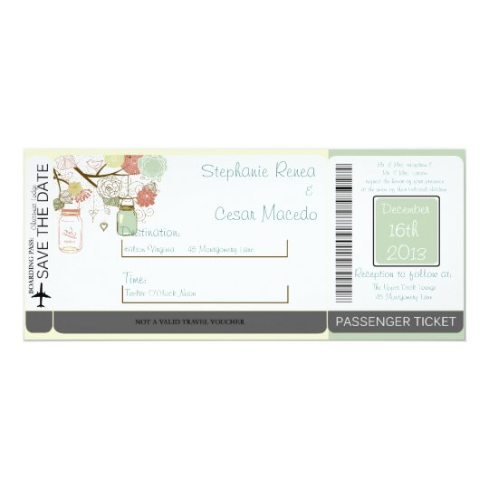 Spring Floral Boarding Pass Wedding Invitation