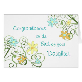 Spring Floral Congratulations New Baby Girl Greeting Card