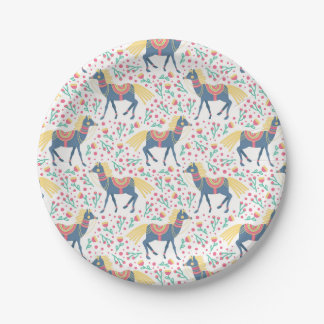 Spring Floral Horses Vector Seamless Pattern Paper Plate