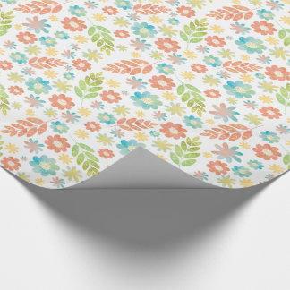 Spring Floral & Leaves Digital Watercolor Pattern Gift Wrap